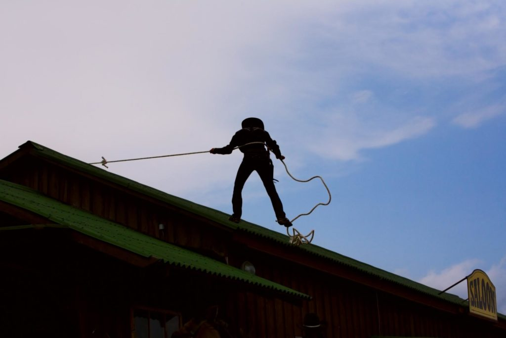 a man on the roof